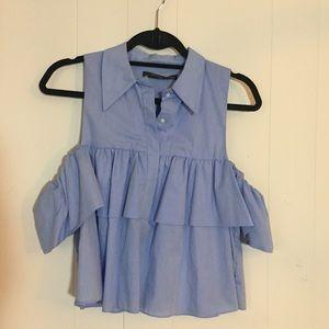 Zara cold shoulder ruffle top